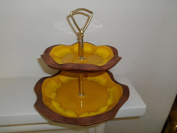 Mid century Drip Glaze 2 Tier Handled Server by GhianniFindings