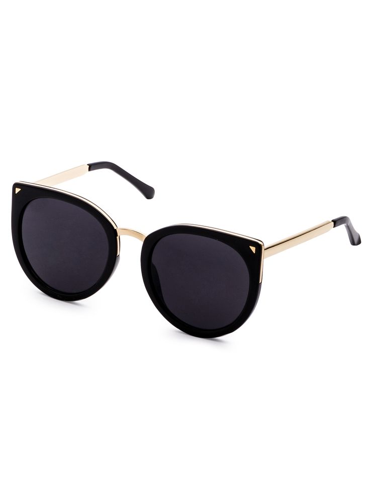Shop Black Metal Trim Cat Eye Sunglasses online. SheIn offers Black Metal Trim Cat Eye Sunglasses & more to fit your fashionable needs.