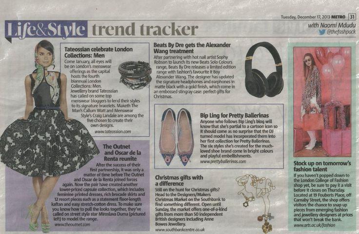 @Metro UK December 2013.  #BloggersCreate #bracelets http://www.tateossian.com/shop-the-collection.html