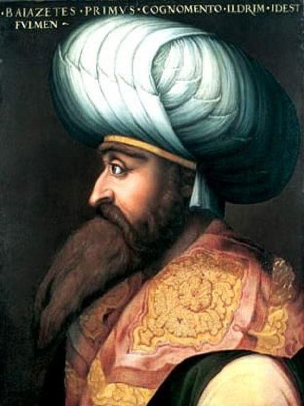 """Bayezid I  (1360 - 1403), bijgenaamd Jildirim (de """"bliksemschicht""""), was de vierde Ottomaanse sultan.  In de slag op het Merelveld tegen de Serviërs sneuvelde zijn vader,Murat I. Bayezid nam wraak door de Servische tsaar Lazar Hrebeljanović en een groot aantal krijgsgevangenen te laten doden."""