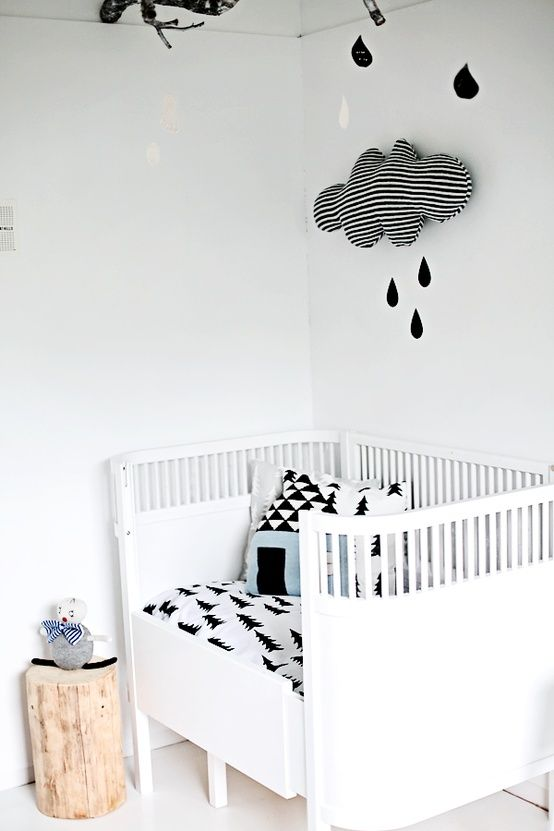 edgy baby room  doll and pillow luckyboysunday / Gran pillow and blanket, rain drops fine little day www.coos-je.nl