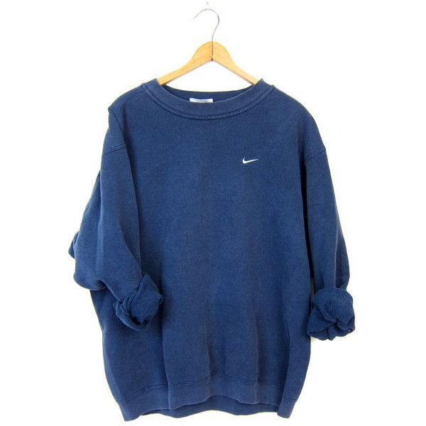 Vintage Navy Blue NIKE Sweatshirt Slouchy ATHLETICS Work Out Sports... ($32) ❤ liked on Polyvore featuring tops, hoodies, sweatshirts, hipster sweatshirt, oversized tops, navy tops, nike and nike top