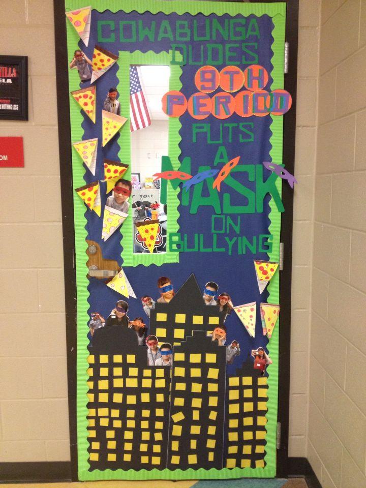Teacher Classroom Decoration Games ~ Ninja turtles anti bullying classroom door my creation