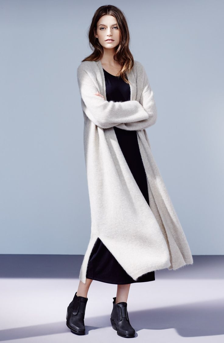 Eileen Fisher Long Cardigan, Midi Dress & Accessories