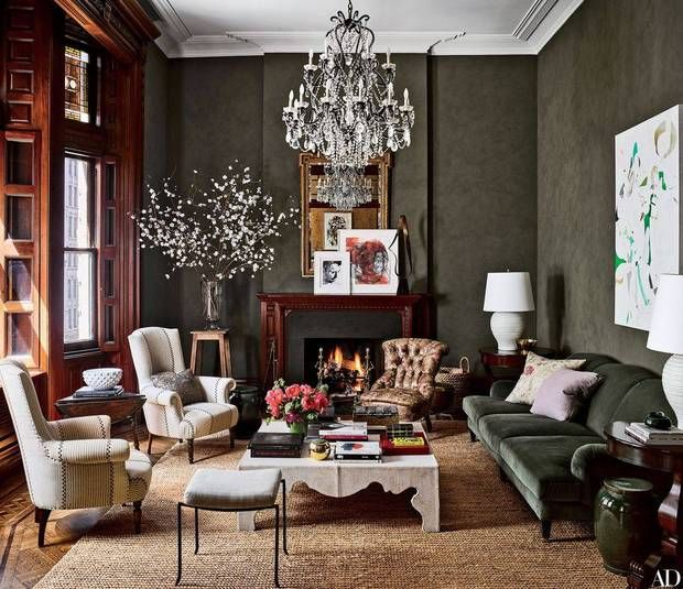 Domino | Jessica Chastain's olive walls in living room via Architectural Digest.