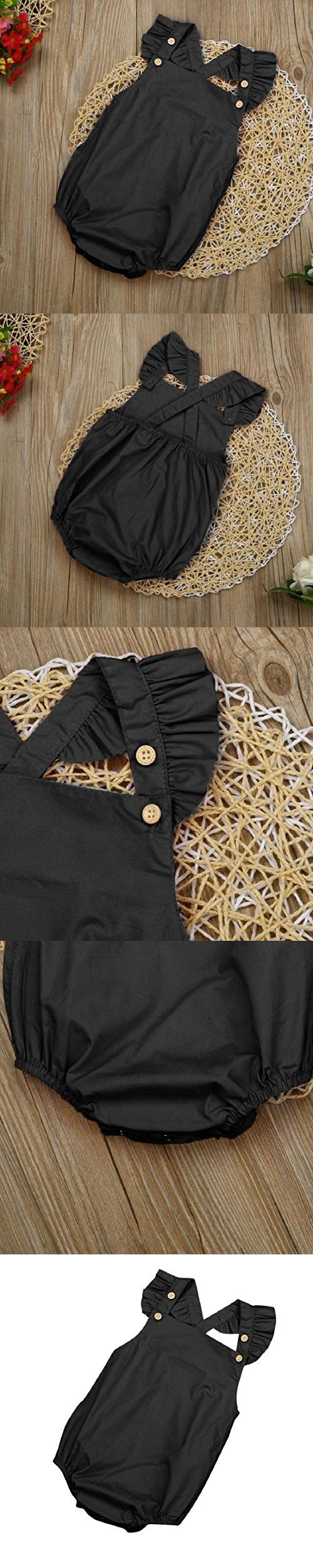 GONKOMA Baby Girls Solid Color Sleeveless Bodysuit Jumpsuit Romper Clothes (6-Months, Black)