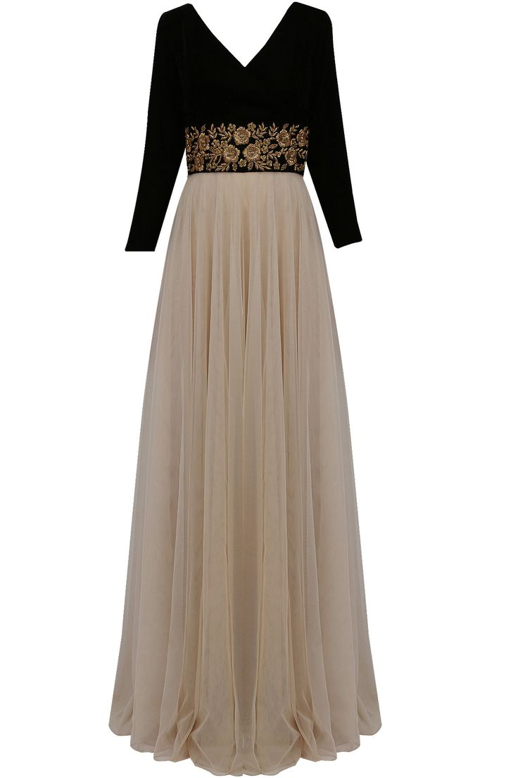 Nude and black floral gold zardozi embroidered flared gown available only at Pernia's Pop Up Shop.
