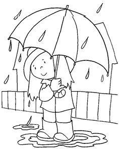 Kleurplaat; Meisje met paraplu