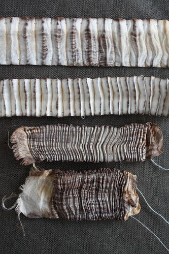 Pleated & hand-dyed Shibori textile samples with textural patterns inspired by nature; fabric manipulation // tinctory via flickr