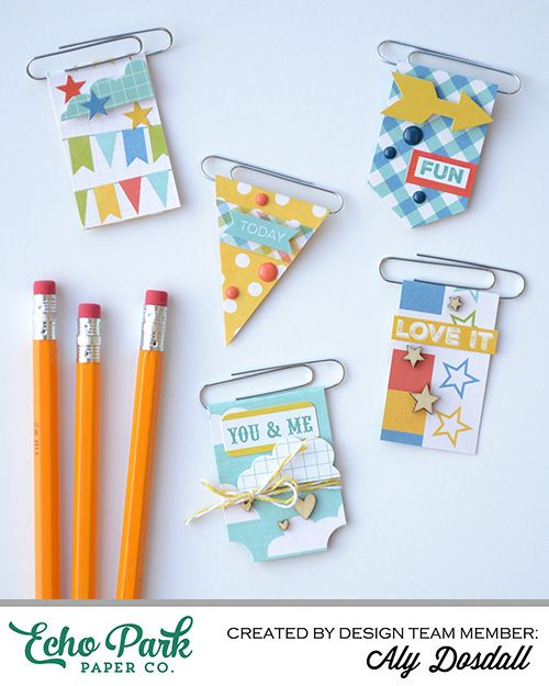 "DIY Paper Clip Bookmarks By Aly Dosdall with the ""A Fair To Remember"" mini theme collection by #EchoParkPaper"