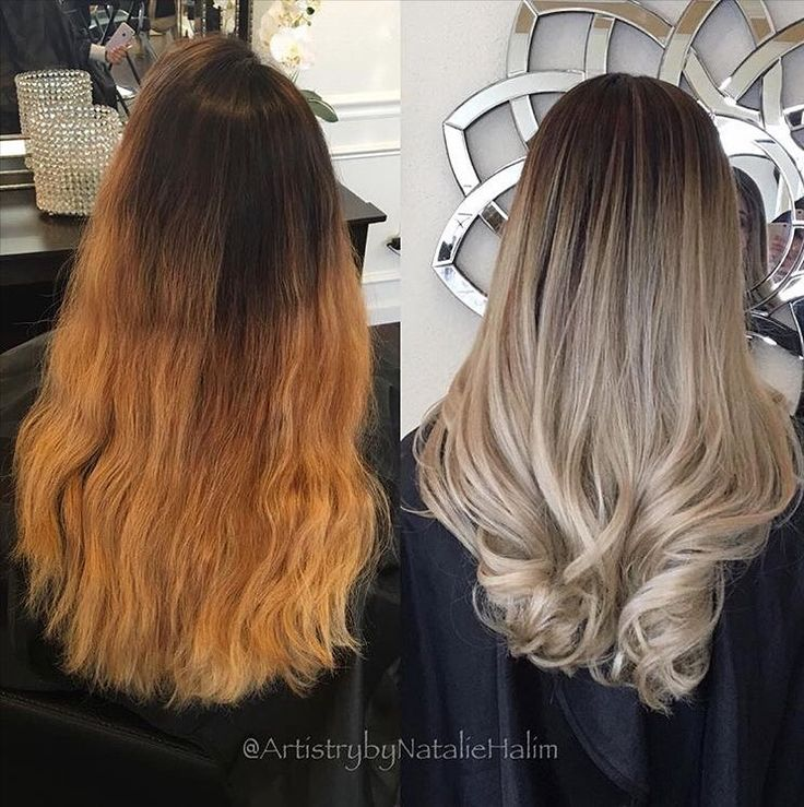 Ombré color correction by @artistrybynataliehalim. She created a softer transition by lightening up her hair and removing the brassy tones to create a cool beige blonde.   Formula: Matrix LightMaster lightener 30 vol (9%) at the bottom and 40vol (12%) towards the top  Olaplex No.1. Rinse. Toner: Matrix ColorSync 8a10v. Rinse apply Olaplex No.2 for 10min. #Olaplex #colorcorrection #ashblonde #blonde #hairlove #haircolor by olaplex