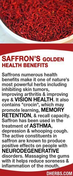 """Saffrons numerous health benefits make it one of nature's most powerful herbs including inhibiting skin tumors, improving arthritis & vision health. It also contains """"crocin"""", which may promote learning, memory retention, & recall capacity. Saffron has been used for asthma, depression & whooping cough. The active constituents in saffron are known to produce positive effects on people with neurodegenerative disorders. Massaging the gums with it helps reduce soreness & inflammation of the…"""