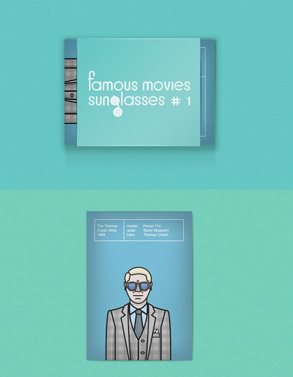 Postcard set «Famous movies sunglasses#1» by Pavel Kossenkov, via Behance