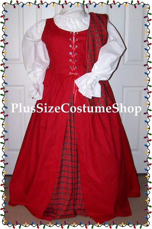 handmade plus size super size irish scottish lass renaissance mrs santa claus christmas holiday costume dress gown with red overdress and tartan plaid skirt