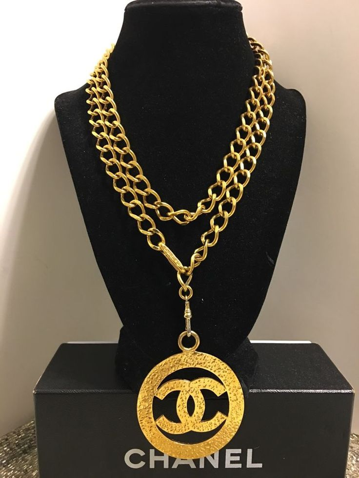AUTH CHANEL MASSIVE VTG 80's GOLD TONE CC LOGO CHANEL CHAIN BELT NECKLACE #CHANEL