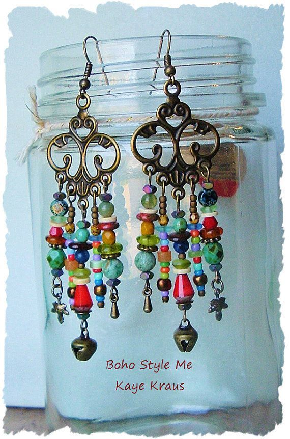 Rustic Boho Tribal Gypsy Earrings Bohemian Jewelry by BohoStyleMe                                                                                                                                                                                 More