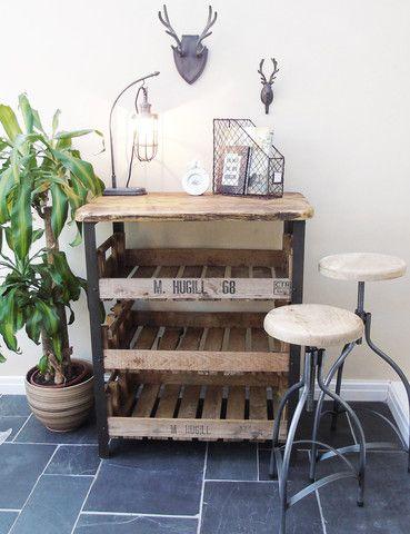 Reclaimed Industrial Wooden Shelving Unit | Vintage Furniture | thedenandnow.co.uk | Warehouse Home Design Magazine