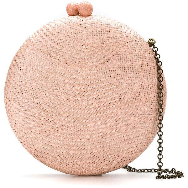 Serpui clutch bag ($525) ❤ liked on Polyvore featuring bags, handbags, clutches, brown, tassel purse, tassel clutches, straw handbags, straw clutches and chain handle handbags