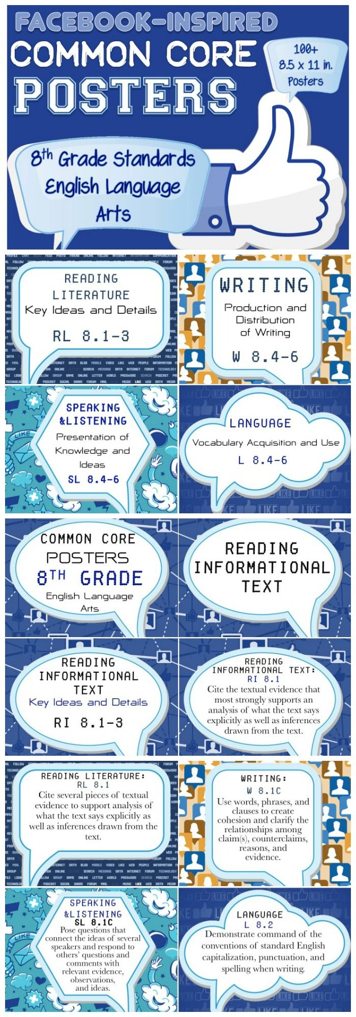 Over 100 Facebook inspired Common Core posters aligned with 8th grade ELA. These new CCSS standards are here to STAY! Purchase once. Print. Laminate. Use year after year! How can you go wrong?
