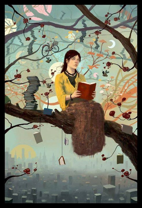"Ebook Friendly — ""Reading in a Tree"" / Artist unknown..."