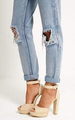 Gigi Nude Croc Strappy Block Heeled Sandals