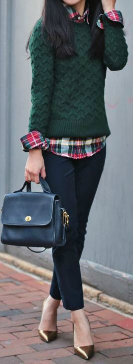 Layer your plaid shirt under a sweater and let the collar and sleeves pop out for a preppy look.: