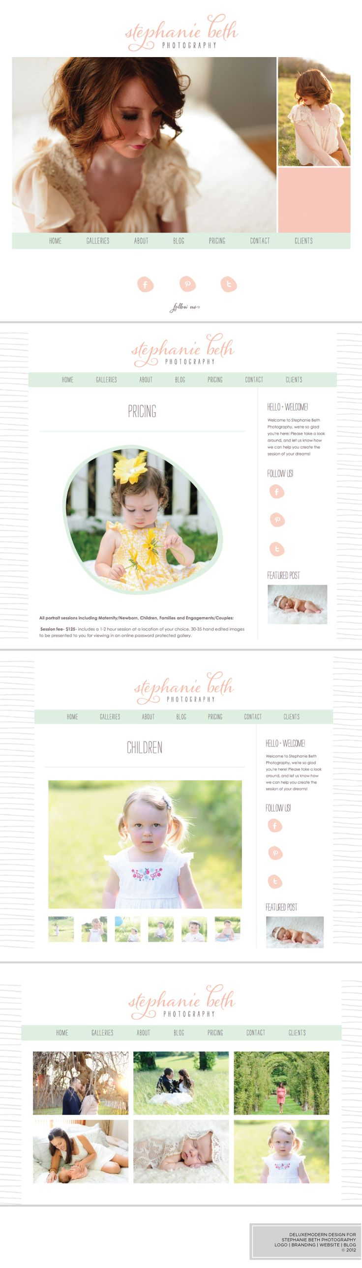 Deluxemodern Design for Stephanie Beth Photography. Branding | Website | Blog. #photography #logo