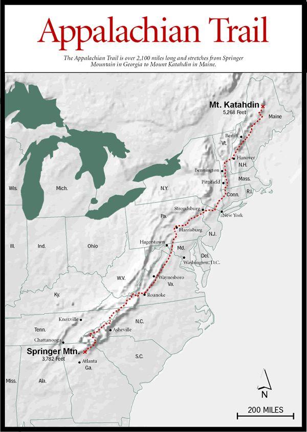 Georgia Mountains > Long Trails > Appalachian Trail Map ...