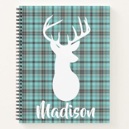 Customized Plaid Tartan Pattern with Deer Head Notebook - girly gifts special unique gift idea custom