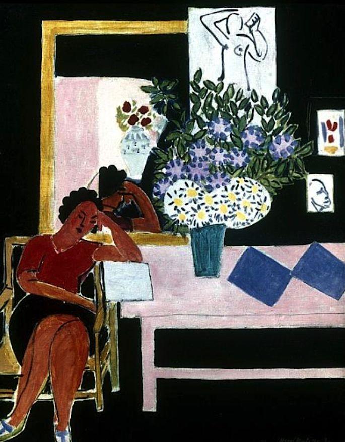 Reader on a Black Background (The Pink Table), 1939 / Henri Matisse
