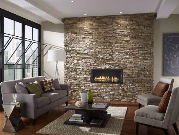 Stone clad fire place