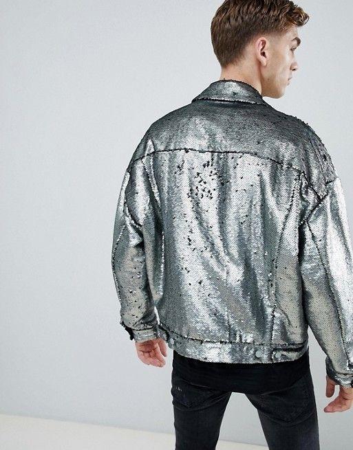 b9a16608 ASOS DESIGN | ASOS DESIGN festival oversized sequin jacket in silver