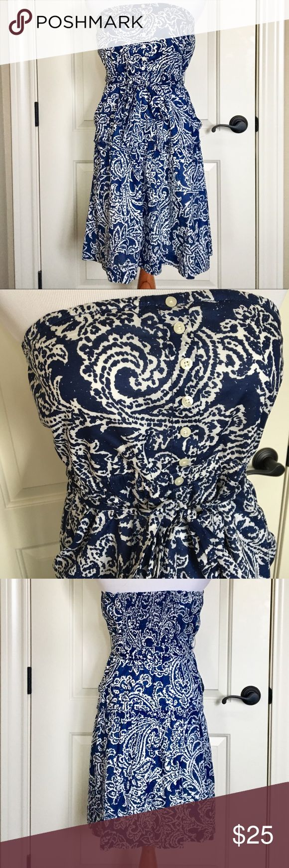 AEO Blue Strapless Dress Size 12 American Eagle Outfitters  Size 12 Beautiful blue and white strapless dress Two pockets Lined  Worn only once! If you need additional pictures or measurements please feel free to ask! 😊 All reasonable offers considered American Eagle Outfitters Dresses Midi #americaneagleoutfitters