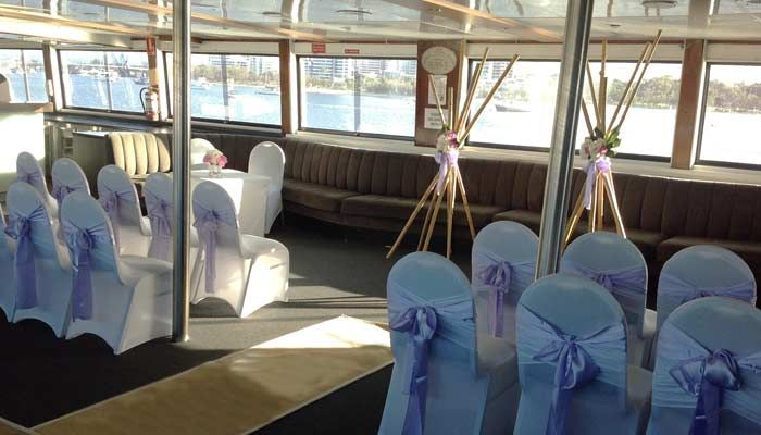 Wedding on the upper deck of Voyager. www.showboat.net.au