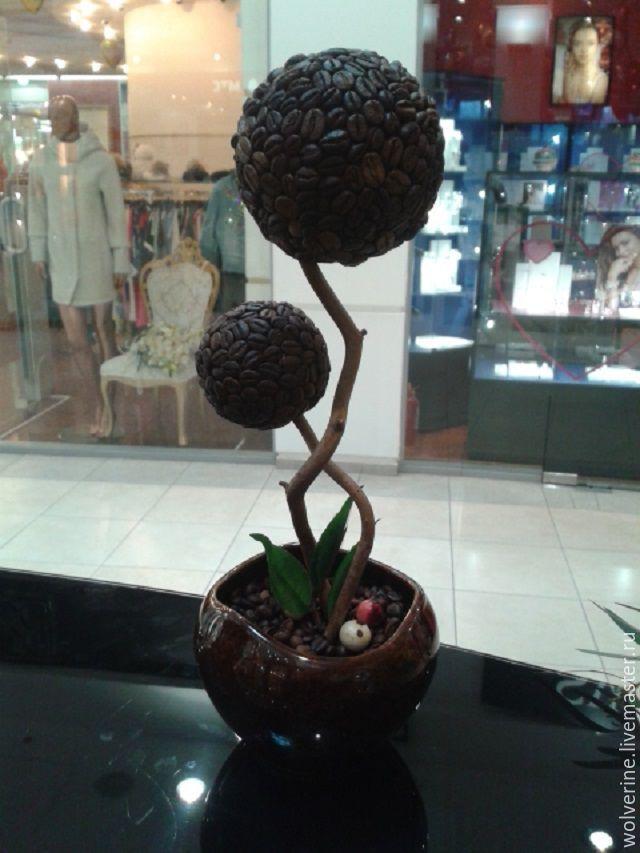 Купить Кофейный дуэт - коричневый, для интерьера, поарок, кофейное дерево, стильный, кофе, эксклюзив, керамика