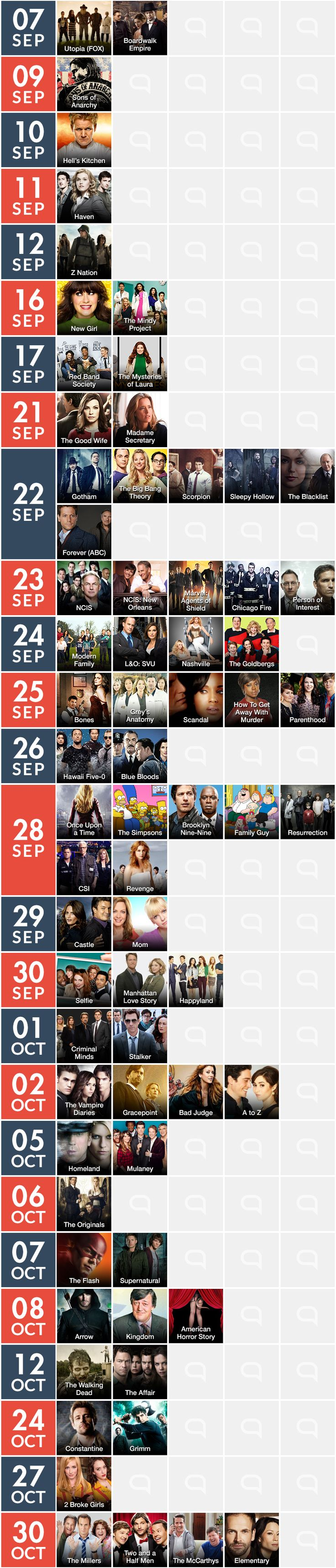 Calendario de series de TV: Fall season 2014