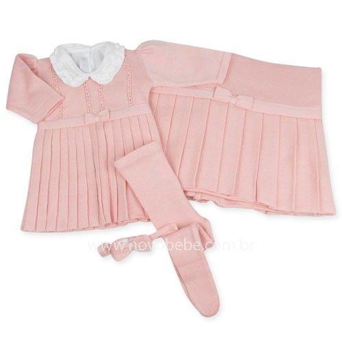 Saída de Maternidade com Vestido Pregas - Rosa - Verivê