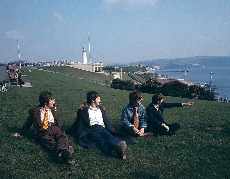 The Beatles on Plymouth Hoe, Plymouth, United Kingdom. This photo was taken on September 12th, 1967.