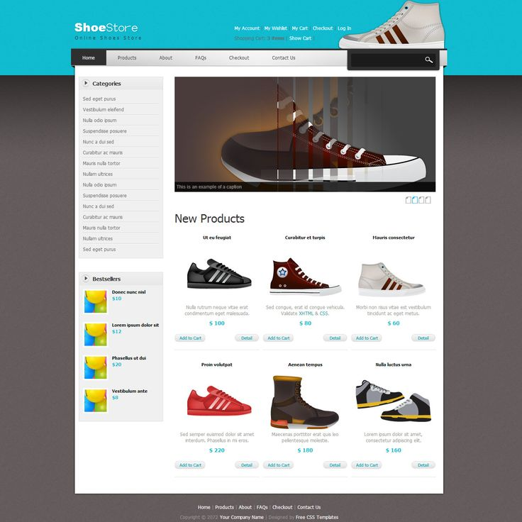 Shoes Template is an ecommerce store theme for shopping related websites. This template includes page designs for shopping cart, check out, products, product detail, etc.