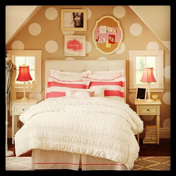 Love The Polka Dots And Frames Above The Bed Home Sweet
