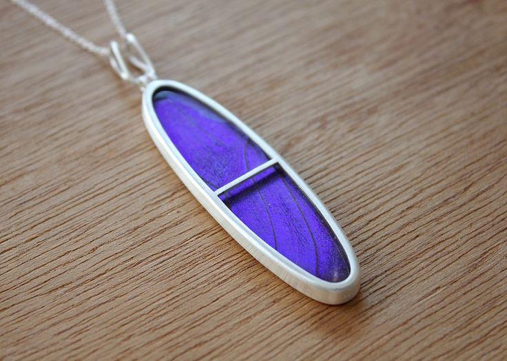 Butterfly wing necklace- butterfly jewelry- silver butterfly necklace- insect jewelry- butterfly necklace- Blue Morpho necklace-oval pendant by SilverTemptation on Etsy