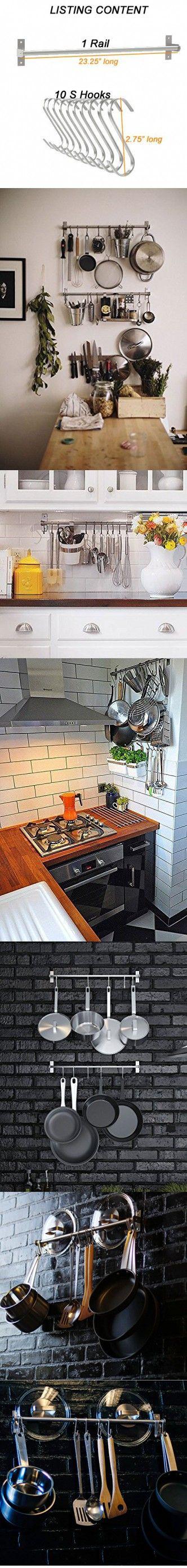 Stainless Steel Gourmet Kitchen 23.25 Inch Wall Rail Pot Pan Utensil Lid Rack Storage Organizer with 10 S Hooks