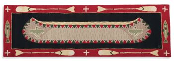Canoe Runner Frontier flashback. Hooked wool rug in tan, black and bright red transports you to the back woods.