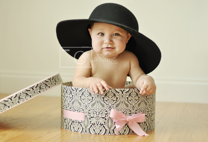 6 month old baby girl in hat box