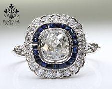 ANTIQUE ART DECO PLATINUM DIAMOND & SAPHIRE RING
