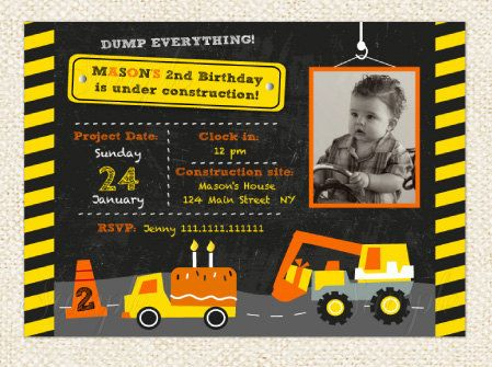 Construction Birthday Invitation  Dump Truck Invitations