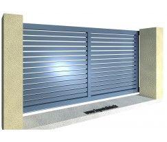 Portail aluminium coulissant ajouré lame 85 horizontale meneau central