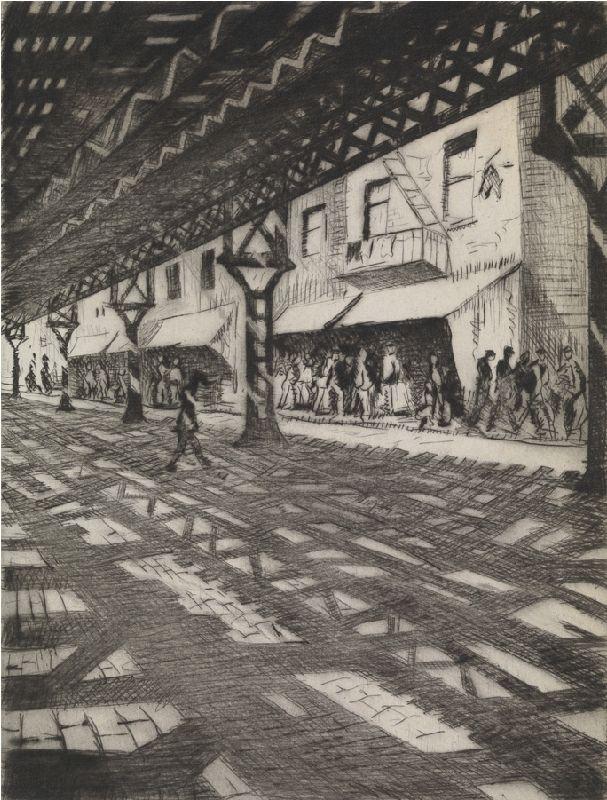 Third Avenue - Christopher Nevinson, 1921. Drypoint.