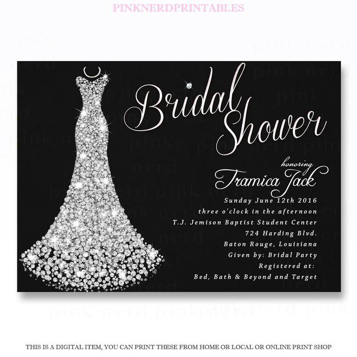 Black Bridal shower Invitation Diamond Dress 93