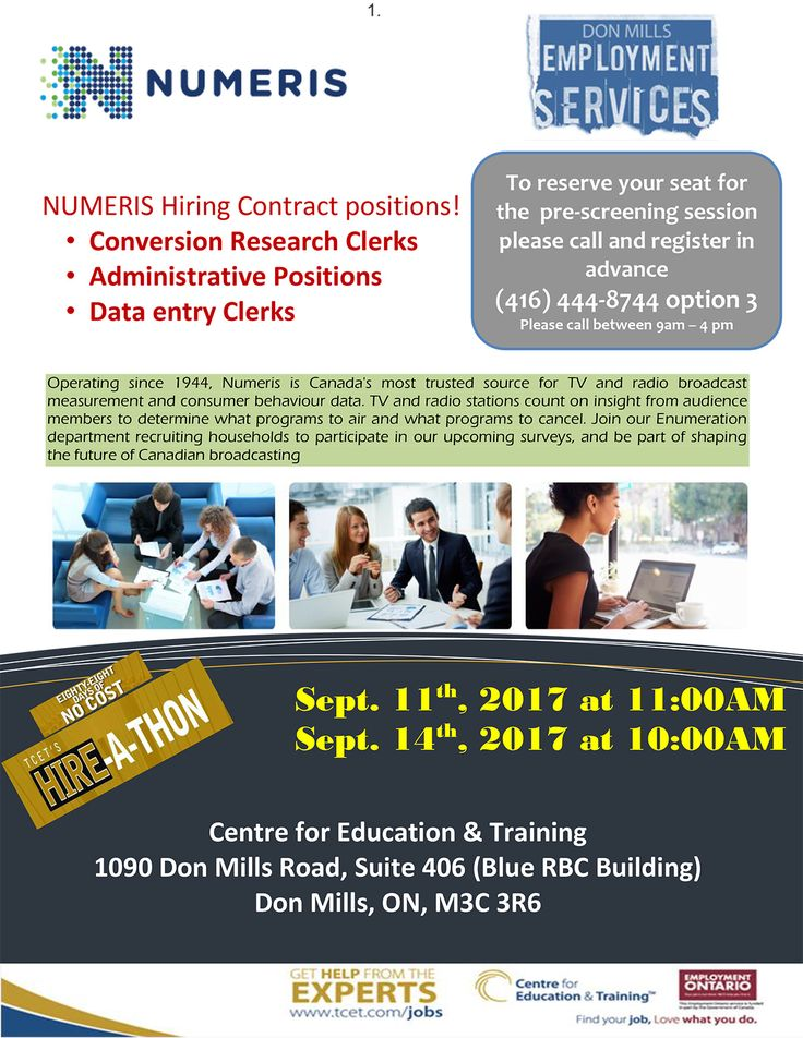 The Hire-A-Thon continues this Monday Sep 11th, 11am at #TCET_DonMills. Stop by the Numeris Hiring Event and #gethired - Hiring Administrative Positions, Conversion Research Clerks, and Data Entry Clerks. RSVP 416-444-8744 (Option 3). #jobs #careers #employment #T_C_E_T